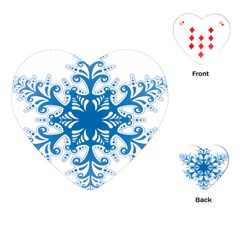 Snowflakes Blue Flower Playing Cards (heart)