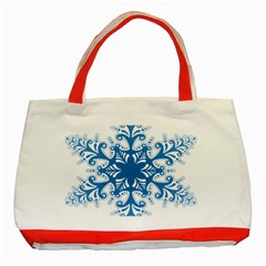 Snowflakes Blue Flower Classic Tote Bag (red)