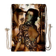 Steampunk, Steampunk Women With Clocks And Gears Drawstring Bag (large)