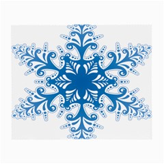 Snowflakes Blue Flower Small Glasses Cloth (2 Side)