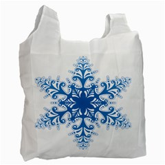 Snowflakes Blue Flower Recycle Bag (one Side)