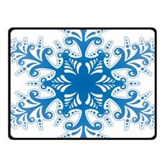 Snowflakes Blue Flower Fleece Blanket (small)