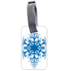 Snowflakes Blue Flower Luggage Tags (two Sides)