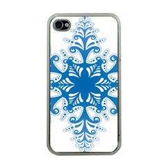 Snowflakes Blue Flower Apple Iphone 4 Case (clear)