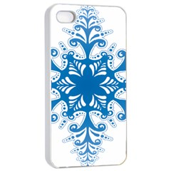 Snowflakes Blue Flower Apple Iphone 4/4s Seamless Case (white)