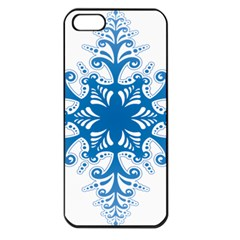 Snowflakes Blue Flower Apple Iphone 5 Seamless Case (black)