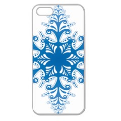 Snowflakes Blue Flower Apple Seamless Iphone 5 Case (clear)