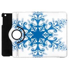Snowflakes Blue Flower Apple Ipad Mini Flip 360 Case