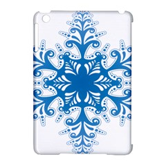 Snowflakes Blue Flower Apple Ipad Mini Hardshell Case (compatible With Smart Cover)