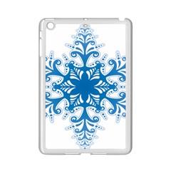 Snowflakes Blue Flower Ipad Mini 2 Enamel Coated Cases