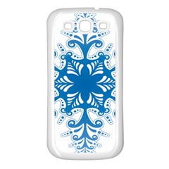 Snowflakes Blue Flower Samsung Galaxy S3 Back Case (white)