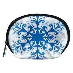 Snowflakes Blue Flower Accessory Pouches (medium)
