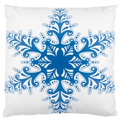 Snowflakes Blue Flower Large Flano Cushion Case (one Side)