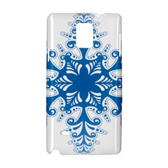 Snowflakes Blue Flower Samsung Galaxy Note 4 Hardshell Case