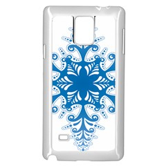 Snowflakes Blue Flower Samsung Galaxy Note 4 Case (white)