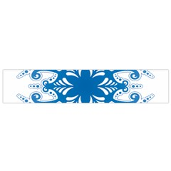 Snowflakes Blue Flower Flano Scarf (small)