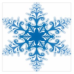 Snowflakes Blue Flower Large Satin Scarf (square)