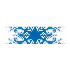 Snowflakes Blue Flower Satin Scarf (oblong)