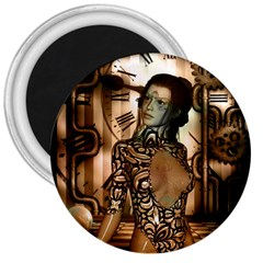 Steampunk, Steampunk Women With Clocks And Gears 3  Magnets