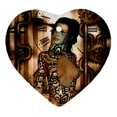 Steampunk, Steampunk Women With Clocks And Gears Ornament (heart)