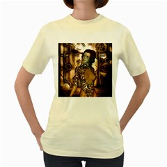 Steampunk, Steampunk Women With Clocks And Gears Women s Yellow T Shirt