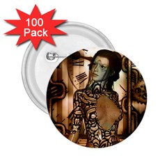 Steampunk, Steampunk Women With Clocks And Gears 2 25  Buttons (100 Pack)