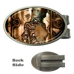 Steampunk, Steampunk Women With Clocks And Gears Money Clips (oval)