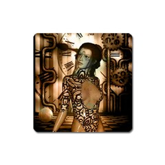Steampunk, Steampunk Women With Clocks And Gears Square Magnet
