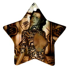 Steampunk, Steampunk Women With Clocks And Gears Star Ornament (two Sides)