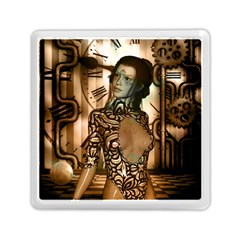 Steampunk, Steampunk Women With Clocks And Gears Memory Card Reader (square)