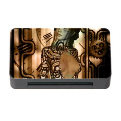 Steampunk, Steampunk Women With Clocks And Gears Memory Card Reader With Cf