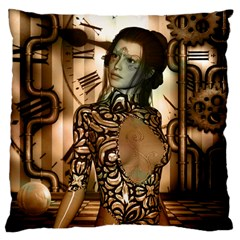 Steampunk, Steampunk Women With Clocks And Gears Large Cushion Case (one Side)