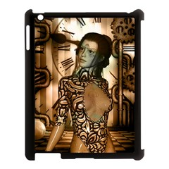 Steampunk, Steampunk Women With Clocks And Gears Apple Ipad 3/4 Case (black)
