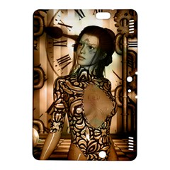 Steampunk, Steampunk Women With Clocks And Gears Kindle Fire Hdx 8 9  Hardshell Case