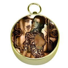 Steampunk, Steampunk Women With Clocks And Gears Gold Compasses