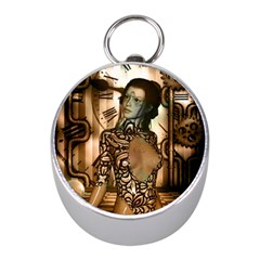 Steampunk, Steampunk Women With Clocks And Gears Mini Silver Compasses
