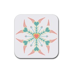 Snowflakes Heart Love Valentine Angle Pink Blue Sexy Rubber Square Coaster (4 Pack)