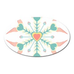 Snowflakes Heart Love Valentine Angle Pink Blue Sexy Oval Magnet