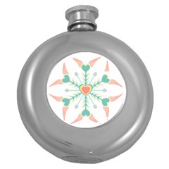 Snowflakes Heart Love Valentine Angle Pink Blue Sexy Round Hip Flask (5 Oz)