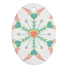 Snowflakes Heart Love Valentine Angle Pink Blue Sexy Oval Ornament (two Sides)