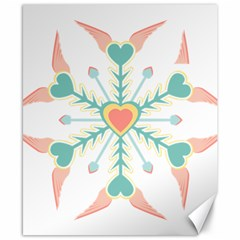 Snowflakes Heart Love Valentine Angle Pink Blue Sexy Canvas 8  X 10