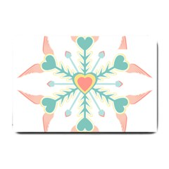 Snowflakes Heart Love Valentine Angle Pink Blue Sexy Small Doormat