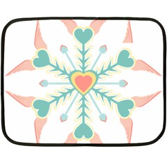 Snowflakes Heart Love Valentine Angle Pink Blue Sexy Double Sided Fleece Blanket (mini)