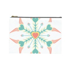 Snowflakes Heart Love Valentine Angle Pink Blue Sexy Cosmetic Bag (large)