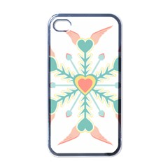 Snowflakes Heart Love Valentine Angle Pink Blue Sexy Apple Iphone 4 Case (black)