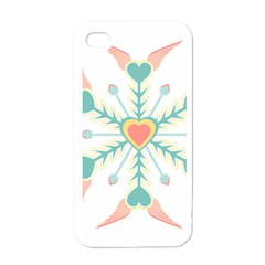 Snowflakes Heart Love Valentine Angle Pink Blue Sexy Apple Iphone 4 Case (white)