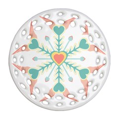 Snowflakes Heart Love Valentine Angle Pink Blue Sexy Round Filigree Ornament (two Sides)