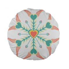 Snowflakes Heart Love Valentine Angle Pink Blue Sexy Standard 15  Premium Round Cushions