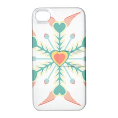 Snowflakes Heart Love Valentine Angle Pink Blue Sexy Apple Iphone 4/4s Hardshell Case With Stand