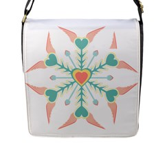 Snowflakes Heart Love Valentine Angle Pink Blue Sexy Flap Messenger Bag (l)